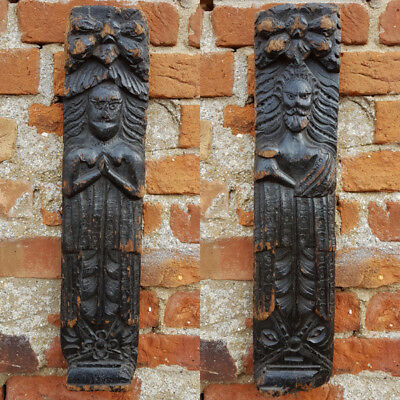 Pair 16thC Elizabethan Period English Antique Carved Oak Terms Panels