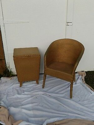 Vintage Lloyd Loom style chair - Gold. & MATCHING LINEN BASKET