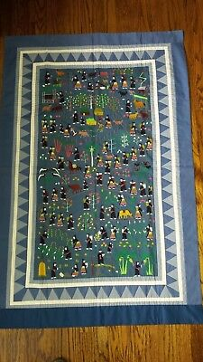 """Charming Hmong Story Cloth Wall Hanging Embroidery 36"""" x 52"""" Village & Animals"""