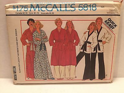 MCCALLS 5818 ROBE Sewing Pattern Misses Mens Jacket Pants Quick Easy ...