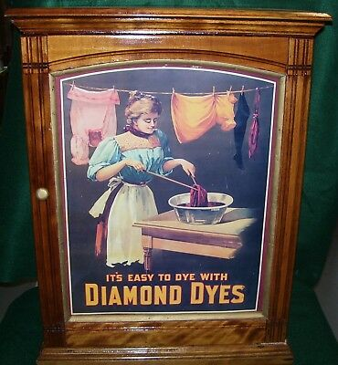 Antique Diamond Dyes Cabinet Store Display-General Store-Table-Top-Dye Storage