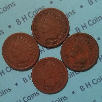 4Various 1887-94 Indian Head Cents, AG-VG, FREE ADD'L S&H,U.S. PennyCoins Lot