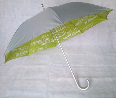 Double Canopy Silver Umbrella with Printed Green Underlay Canopy Wind Resistant