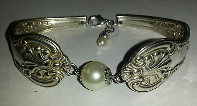 Bracelet handmade from vintage and Antique silver plate spoon handles
