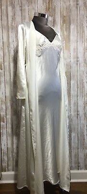 Victoria's Secret Bridal Ivory Silk Long 2-Pc. Robe/Gown Set, Pearl Embr. XS/S