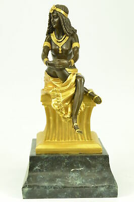 Hand Made Chiparus Egyptian Dancer Bronze Sculpture Marble Base Statue Decor