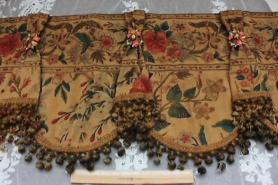 "Antique French Linen Indienne Curtain Valence c1860-1870~18""L X 56""W"