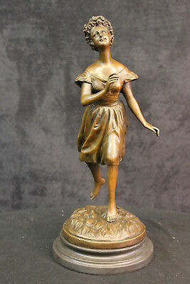 Hand Made STYLE COLLECTIBLE DECORATION HANDWORK DANCING GIRL PURE BRONZE STATUE