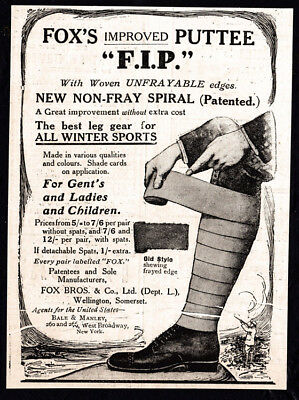 1911 Fox's Improved Puttees vintage print ad - For all Winter Sports