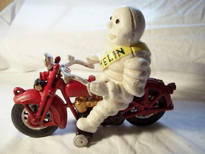 Cast Iron Michelin Man With Glass Eyes On Motorcycle Toy Harley Davidson