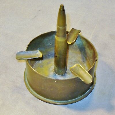 Vintage WW2 Brass Trench Art Shell Ashtray