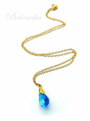 Vintage Art Deco Style Czech Glass Necklace Pendant Chain Faceted Gold Tone Blue