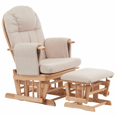 Mothercare Reclining Glider & Footstool - Natural with beige cushion [Grade B]