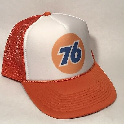 Vintage Style Unocal 76 Truck Stop Store Gas Oil Trucker Hat Snapback Cap Orange