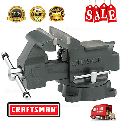 Craftsman 5 in. Bench Vise Heavy Duty Tool Reversible Plates With Large Pipe NEW