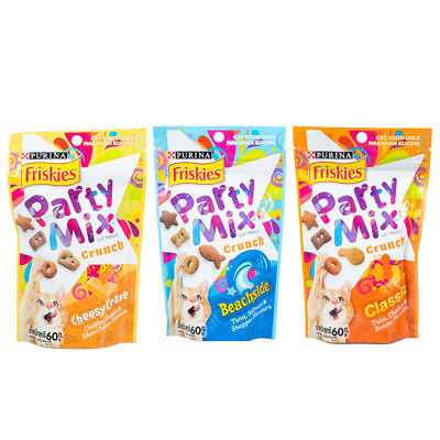 60g Purina Friskies Party Mix Crunchy Dry Cat Treats Crunch In Resealable Pouch