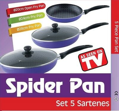 Set 3 Sartenes Spider Pan Antiadherentes Apta Todas Cocinas Calidad Visto Tv