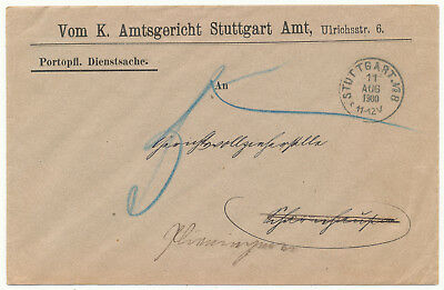 Germany States Wurttemberg Official Cover Postage Due (1900)