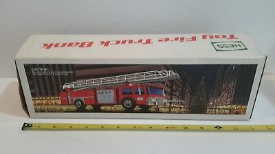 Vintage 1986 Hess Toy Fire Truck Bank Excellent New In Box