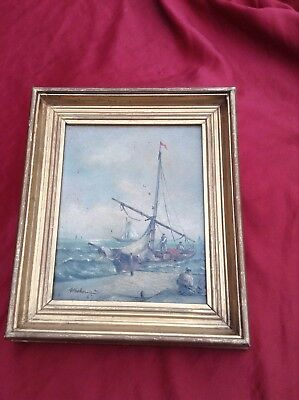 Vintage Signed Small Continental Oil On Board Marine Seascape Painting
