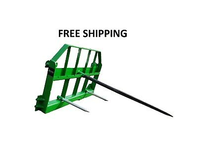 "49"" John Deere Bale Spear- JD quick attach, powder coated green, FREE SHIPPING"