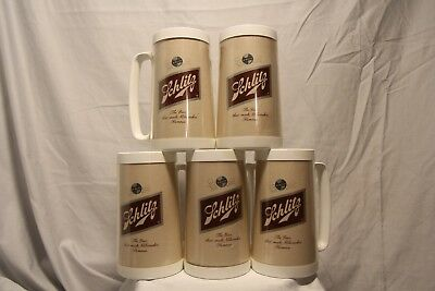 Lot of 5 Vintage Schlitz Logo Thermo-Serv Insulated Mugs West Bend Made U.S.A.