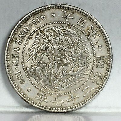 Japan Trade Dollar 1894 Year 27 with chops