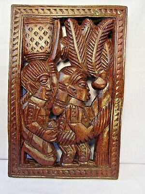 Nigerian African Carved Wall/door Panel By Odekunle Oyo! Check Out Back Scene!