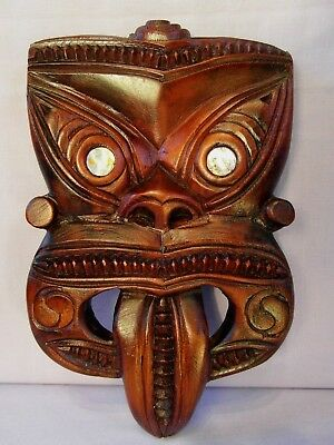 OLD MAORI CARVED WHEKU TRIBAL WALL HANGING MASK INITIALLED T W. UNUSUAL. 1930s?