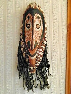 Png Spirit Mask Cowrie Shells In Red Ochre. Great Presence. Sepik River Area