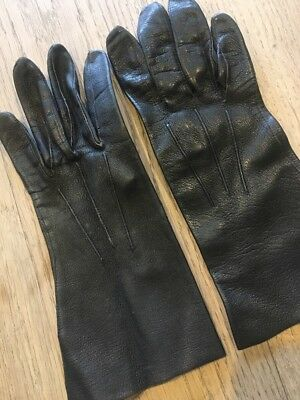 Vintage Black Leather Gloves Size Small