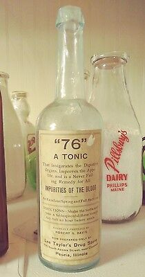 "Pontiled 3 Piece mold ""76"" Tonic Lee Taylor's Drug Store Peoria, Illinois bottle"