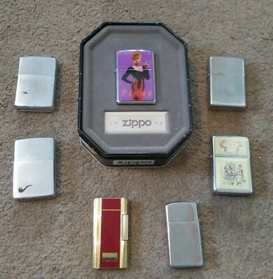 Lot Of 7 Zippo Lighter Assorted Styles Vintage