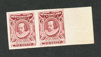 Newfoundland, #98a, horiz pair w/ right sheet margin, VF, no gum as issued