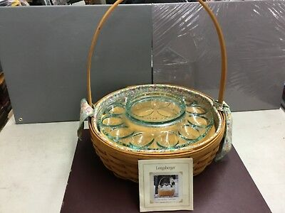 2001 Handmade Longaberger Easter Basket with Egg dish (Never Used) w/paper