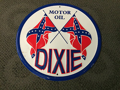 Vintage style embossed metal tin sign - Dixie motor oil