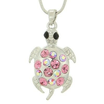 "TURTLE W Swarovski Crystal Sea Ocean Animal Gift Pink Charm Pendant 18"" Chain"