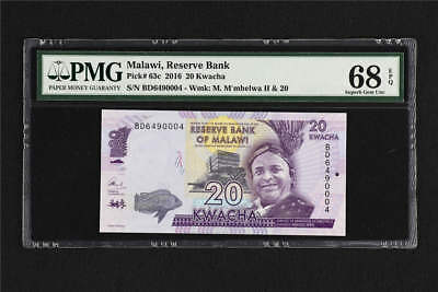 2016 Malawi Reserve Bank 20 Kwacha Pick#63c PMG 68 EPQ Superb Gem UNC