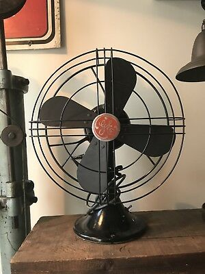 Vintage Black GE Desk or Table ELECTRIC 2-SPEED FAN, 12 Inch, 4 Blade GE TAG