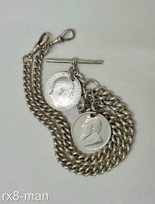 1907 CHUNKY SOLID SILVER DOUBLE ALBERT POCKET WATCH CHAIN + T BAR & COINS 102.5g