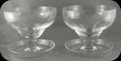Vintage Lot of Two Etched Glass Cut Crystal Sauce Dishes