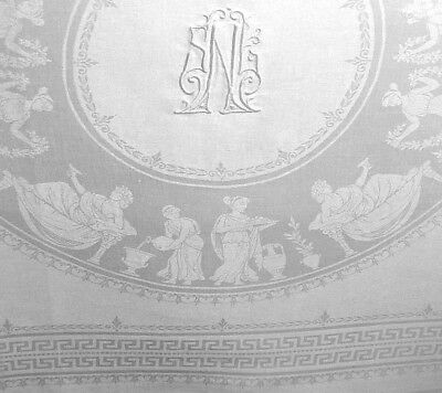 "2 Damask Linen Napkins Monogram SNL, Greek Goddesses, ""Dinner for Two"" - ""AS IS"""