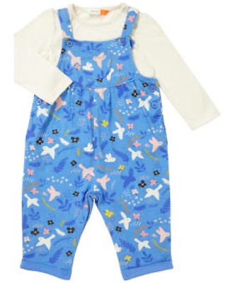 Brand New John Lewis Baby Unisex Bird Jersey Dungarees RRP£18 New Born-12/18mths