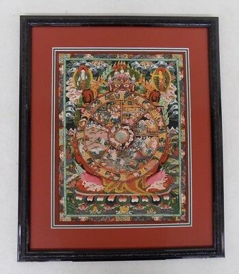"""Beautifully Matted & Framed East Asian Painting Devil Buddha Tantra 17x20.5"""""""