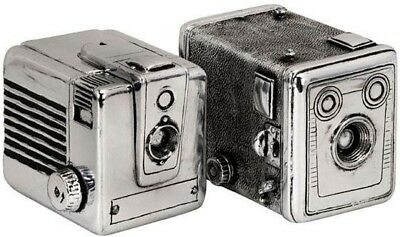 Vintage Silver Camera Boxes Set of 2 Decorative Boxes Character Antique Accents