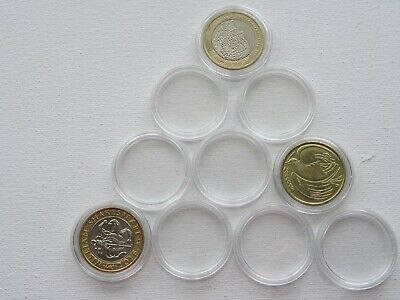 Plastic Round Coin Capsules   29 mm  £2 (old and new ) 10,20,50 or 100 capsules