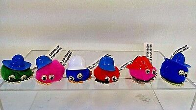 Lot of 6 Vintage Googly Eye Pom Pom A&W Root Beer Character Stickers - UNUSED!