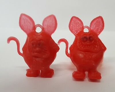 (2) Vintage RAT FINK Red Gumball Charms with (1) Orange Ring  - FREE SHIPPING