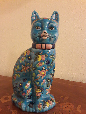 Grand chat emaux et faience Longwy