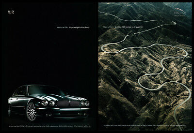 Jaguar XJR 2-page print ad 2004 Driving 100 Miles to Travel 30